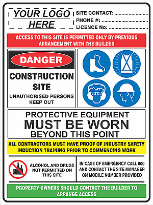 Safety Sign - CONSTRUCTION SITE COMBINATION SIGN