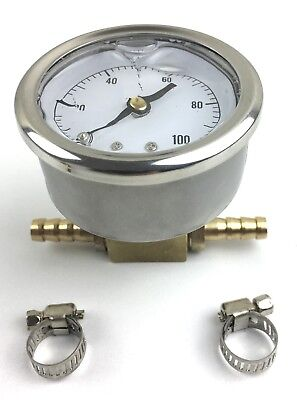 Fuel Pressure Gauge psi (rear port) with Inline Brass Adapter and Hose Clamps