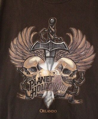 Planet Hollywood Men Brown Large Tshirt Orlando Florida Skulls Sword Graphic