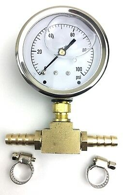 Fuel Pressure Gauge psi (side port) with Inline Brass Adapter and Hose Clamps