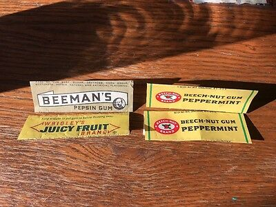 Vintage Assorted Gum Wrappers Beechnut Wrigleys And Beeman's