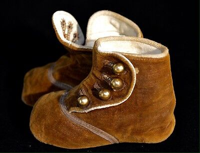 Antique Baby Button Up Shoes w/ Velvet Tops & Leather Bottoms Gold Buttons