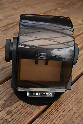 Vintage Rolodex Card Holder Model SW-24C Faux Wood Swivel Rotary Covered Case