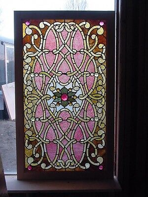 Antique American Stained and Jeweled Glass Window