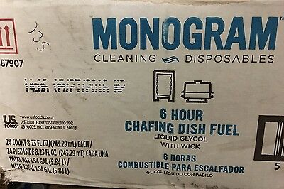 24 PACK Monogram 6 Hour Chafing Dish Fuel Can Chafer Buffet Food Warmer