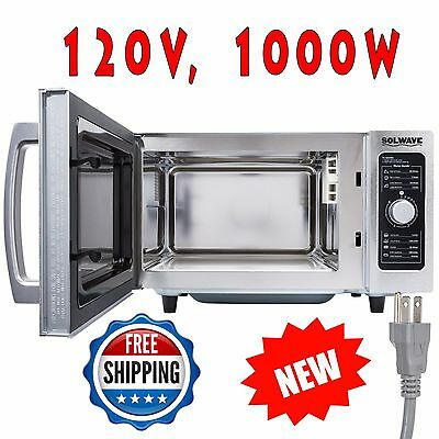 Stainless Steel Heavy-Duty Commercial Microwave with Dial Control - 120V, 1000W