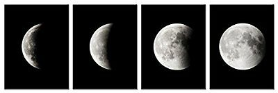 Space Black And White Moon Canvas Prints Pictures Wall Art Printing Photo Decor