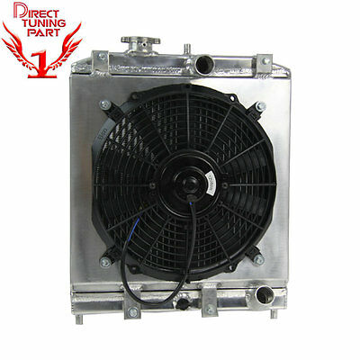 For 1992-2000 Honda Civic / Del Eg Ek Sol 2Row Aluminum Radiator +Shroud Fan