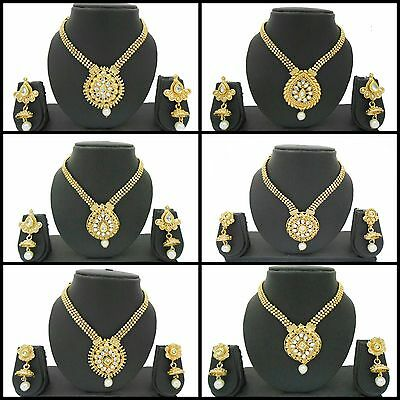 Gold Plated Fashion Jewelry Indian Wedding Bridal Necklace Earrings Sets Women