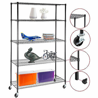 "5 Adjustable Shelving Rack 82""x48""x18"" Tier Layer Wire Steel Shelf Heavy Duty"