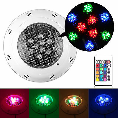 Underwater Swimming Pool SPA 9W Bright LED Light Colorful RGB& IR Remote Control