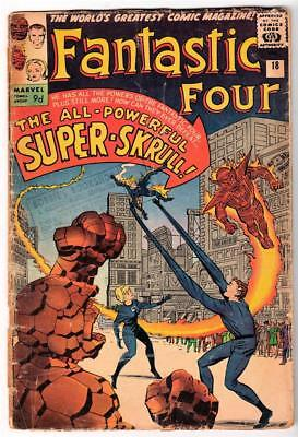 Marvel Comics GVG 2.5  FANTASTIC FOUR  #18  1st SUPER SKRULL low  grade
