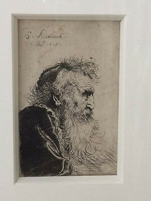 """Salomon de Koninck etching """"The Old Philosopher"""" signed and dated 1628c"""