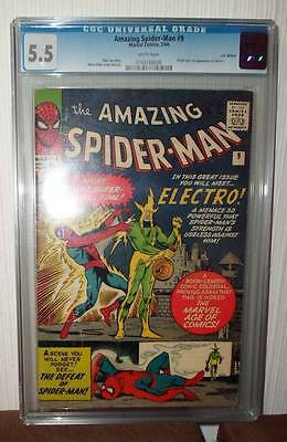 MARVEL CGC Comics SPIDERMAN SILVER age #9 1964 1ST appearance ELECTRO  FN- 5.5