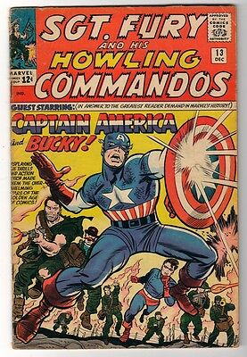 MARVEL Comics SGT FURY (nick) Captain America app SILVER age #13