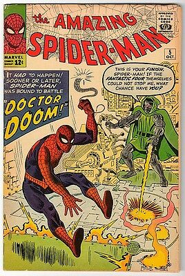 MARVEL Comics SPIDERMAN Amazing spider-man #5 1963 VG+/FN-  1st app APP DR DOOM