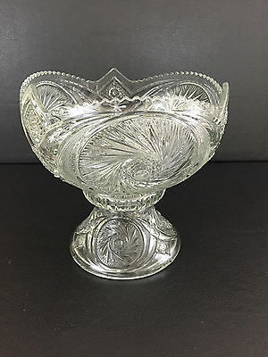 Antique clear pressed glass punch bowl & stand AZTEC by McKEE & Bro. 1903-1927