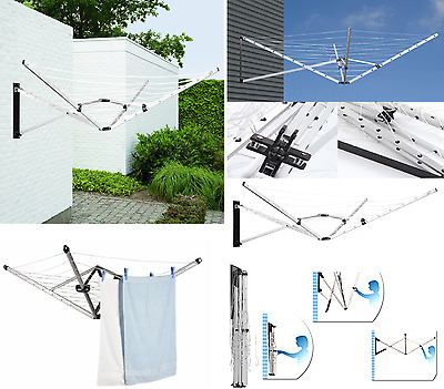 5 Arm 26m Wall Mounted Rotary Airer Outdoor Washing Line Laundry Dryer Wall Fix