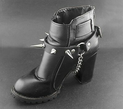 1Pair Women Fashion Biker Punk Boot Chain Bracelet Strap Metal Spikes Charm