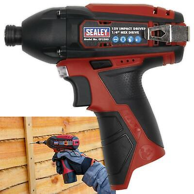 "Sealey 12V Cordless 1/4"" Hex Drive Impact Driver 80Nm Body Only LED Indicator"