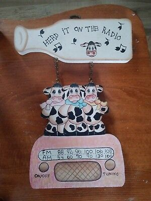 "2 Dairy Cow Wall Decor Dairy Cow Sign ""Herd it on the Radio"" ""Love one anudder"""