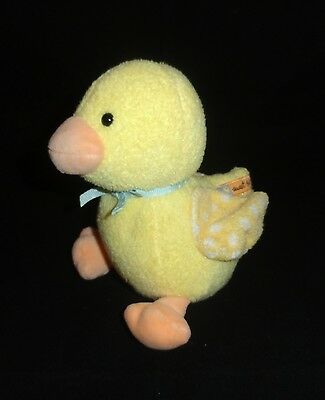 """Carters Yellow Duck Plush SWEET BABY 6"""" Blue Bow Rattle Lovey Soft Toy"""