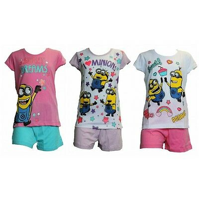 Girls Summer Minions Short Sleeve Pyjamas/nightwear age 6 years up to 12 years