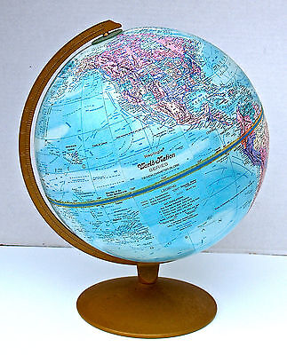 "Vintage 12"" World Globe Nation Series Raised Topography Replogle Made In USA"