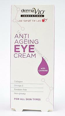 ** DERMA V10 ANTI AGEING EYE CREAM 15ml NEW ** CAFFEINE PARABEN FREE