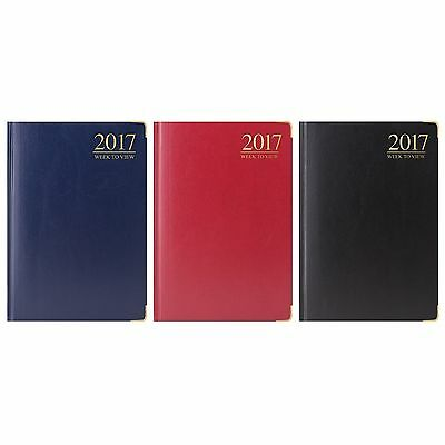 2017 A6 Dairy Week to View WTV Small Pocket Size Diary Gilt Edge Metal Corners