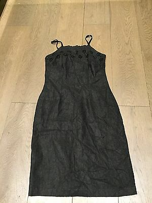 Grey Zygo Felt Like Grey Sleeveless Dress Size 8/10 Uk Retro