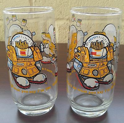 Pair of Vintage 1979 Burger King Wizard of Fries Drinking Glasses