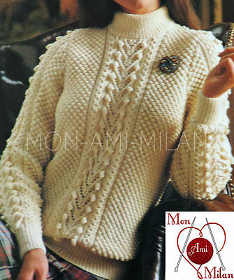"Vintage Knitting Pattern LADIES ATTRACTIVE ARAN CABLE SWEATER JUMPER 32-38"" DK"