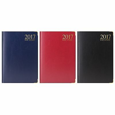 2017 A6 Diary Day A Page DAP Small Pocket Size Diary Gilt Edge Metal Corners