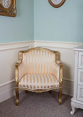 French Tub Louis Armchair Gold Stripe Shabby Chic Bed Room Antique Style Bedroom