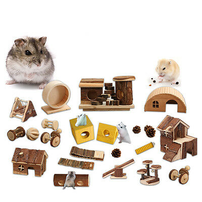 Hamster Mouse Rat Hedgehog Natural Wooden Bed House Cage Exercise Toys Wheels