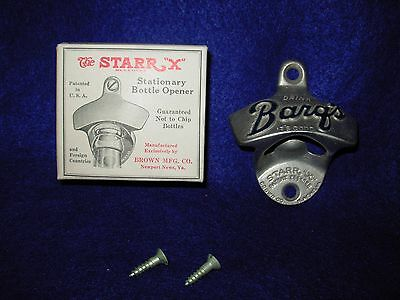 """Barq's Root Beer Vintage Advertising Wall Mount Starr """"X"""" Bottle Opener Boxed"""