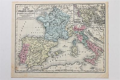1852 France Spain Map Italy Europe Portugal Sicily Greece Ionian Islands