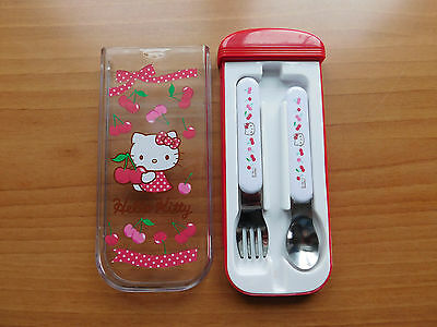Hello Kitty Sanrio Fork And Spoon Set In Case