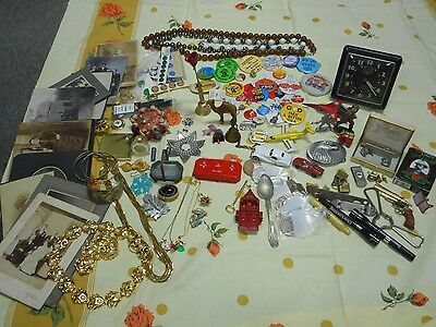 Vintage Men's Women's Junk Drawer Lot Jewelry Toys Pins Antique Photos Quality