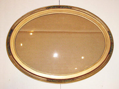 antique gold gesso large oval picture frame w convex bubble glass