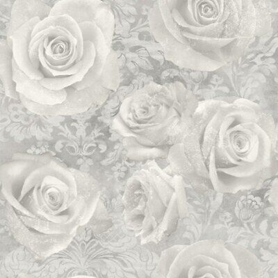 Arthouse Reverie Silver Wallpaper 623303 Floral Rose Damask Grey Shabby Chic