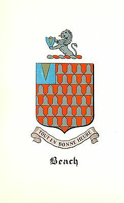 *Great Coat of Arms Beach Family Crest genealogy, would look great framed!