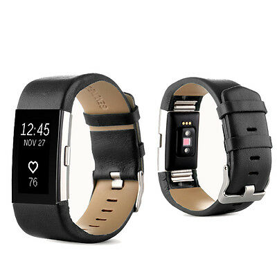 Black Genuine Leather Watch Strap Bracelet Wristwatch Band For Fitbit Charge 2 ~