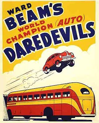 Vintage Antique Rare POSTER 30's  AUTO DAREDEVILS  Stunt Racing Drivers Sideshow