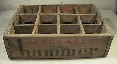 Vintage Wood Beverages By Hammer Soda Crate 12 Bottle Case Brooklyn NY USA Box