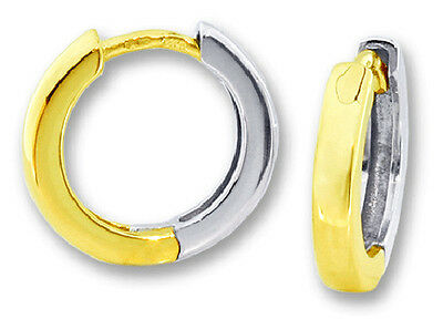 Round Hoop Earrings 10k Yellow And White Gold Reversible Huggies