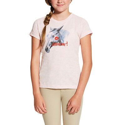 Ariat Amour Girls Horse Tee Shirt - Childs/Kids - Pink Heather - Different Sizes