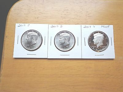 2017 P D S Clad Proof Kennedy Half Dollar 3 Coin Lot Set