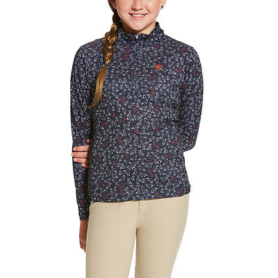 Ariat Girls Sunstopper Riding Sun Shirt - Childs/Kids - Navy Fox -Diff Sizes